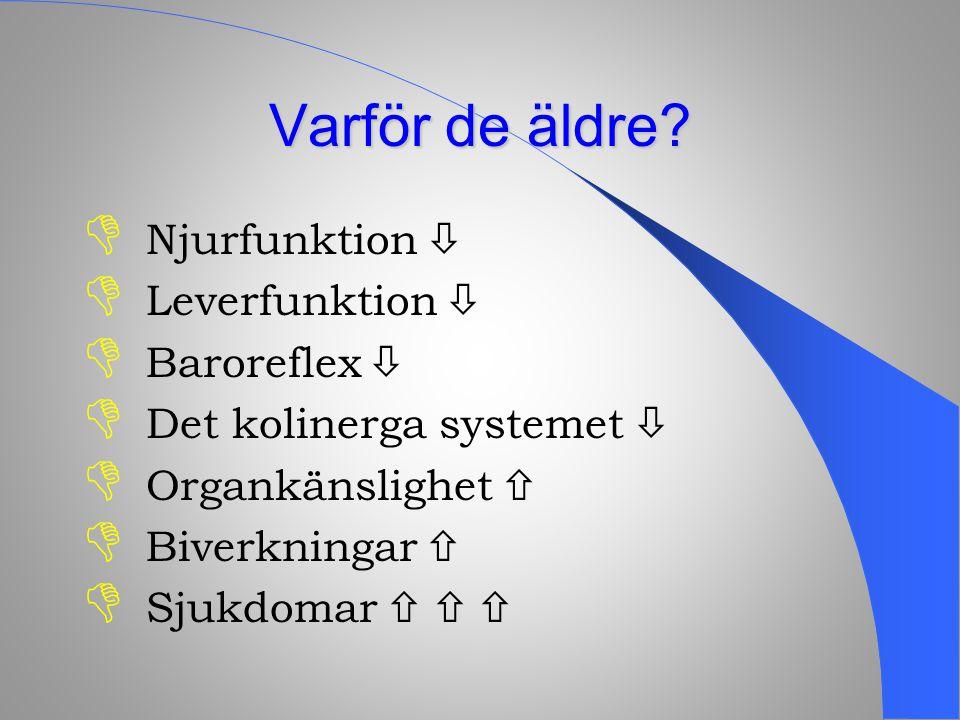  Njurfunktion   Leverfunktion   Baroreflex   Det kolinerga systemet   Organkänslighet   Biverkningar   Sjukdomar   