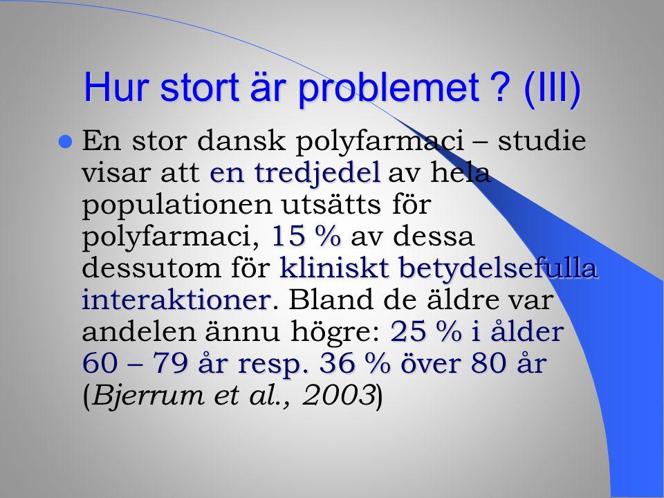 Hur stort är problemet ? (III) en tredjedel 15 % kliniskt betydelsefulla interaktioner 25 % i ålder 60 – 79 år resp. 36 % över 80 år En stor dansk pol