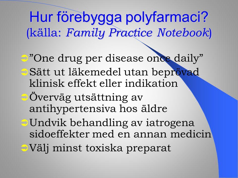 """Hur förebygga polyfarmaci? (källa: Family Practice Notebook )  """"One drug per disease once daily""""  Sätt ut läkemedel utan beprövad klinisk effekt ell"""