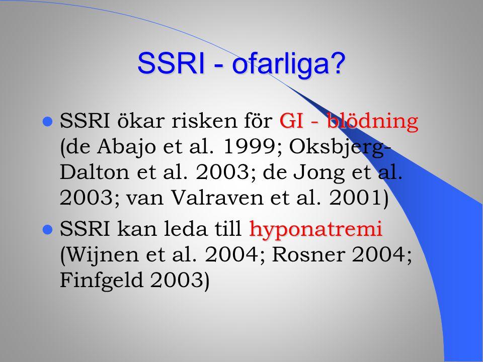 SSRI - ofarliga? GI - blödning SSRI ökar risken för GI - blödning (de Abajo et al. 1999; Oksbjerg- Dalton et al. 2003; de Jong et al. 2003; van Valrav