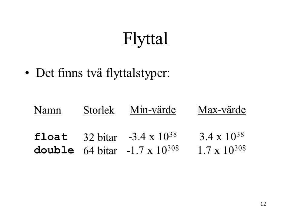 12 Flyttal Det finns två flyttalstyper: Namn float double Storlek 32 bitar 64 bitar Min-värde -3.4 x 10 38 -1.7 x 10 308 Max-värde 3.4 x 10 38 1.7 x 1