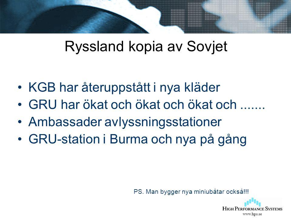 www.hps.se Ryssland kopia av Sovjet KGB har återuppstått i nya kläder GRU har ökat och ökat och ökat och....... Ambassader avlyssningsstationer GRU-st