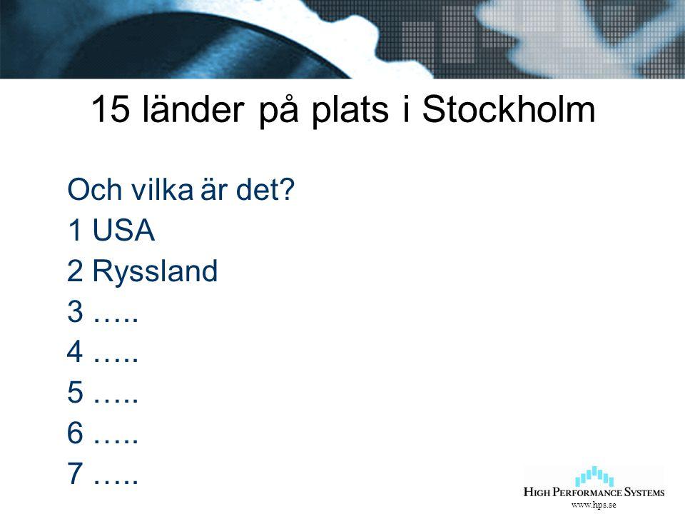www.hps.se 15 länder på plats i Stockholm Och vilka är det? 1 USA 2 Ryssland 3 ….. 4 ….. 5 ….. 6 ….. 7 …..