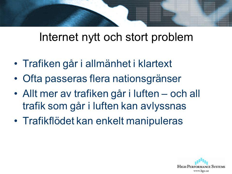 www.hps.se Internet nytt och stort problem Trafiken går i allmänhet i klartext Ofta passeras flera nationsgränser Allt mer av trafiken går i luften –