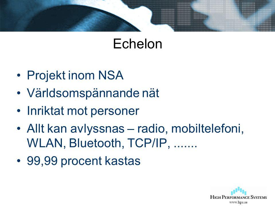 www.hps.se Echelon Projekt inom NSA Världsomspännande nät Inriktat mot personer Allt kan avlyssnas – radio, mobiltelefoni, WLAN, Bluetooth, TCP/IP,...