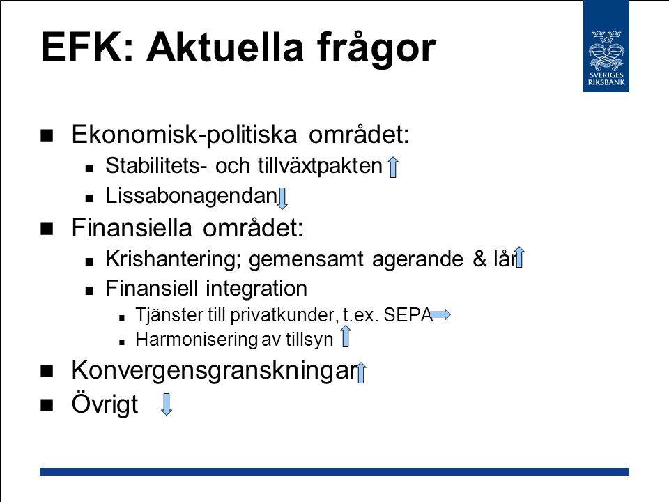 EFK: Aktuella frågor Ekonomisk-politiska området: Stabilitets- och tillväxtpakten Lissabonagendan Finansiella området: Krishantering; gemensamt agerande & lån Finansiell integration Tjänster till privatkunder, t.ex.