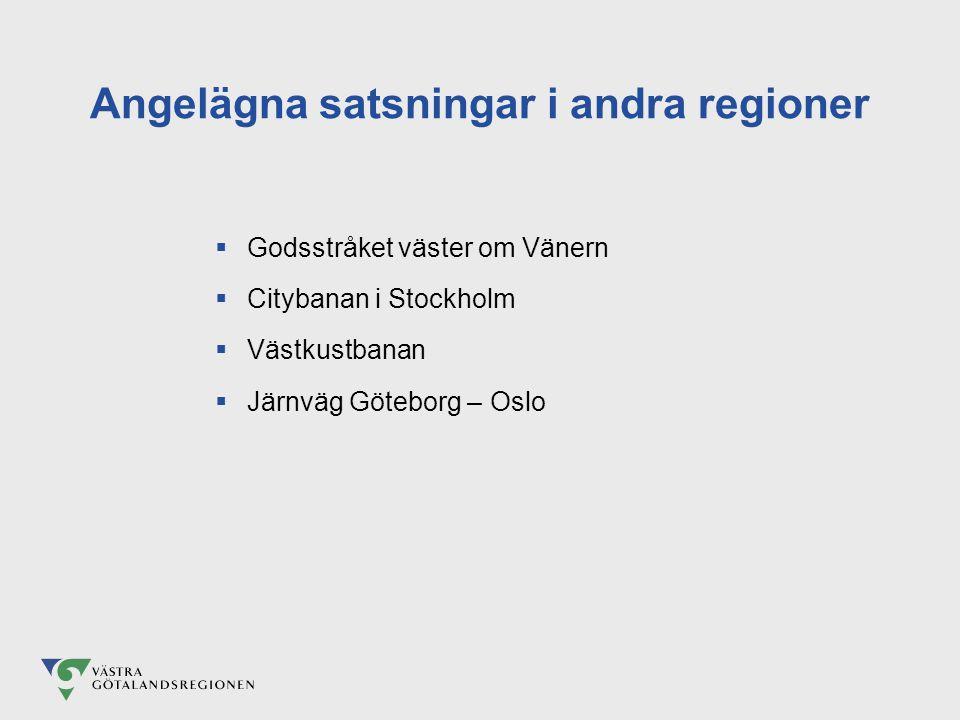 Angelägna satsningar i andra regioner  Godsstråket väster om Vänern  Citybanan i Stockholm  Västkustbanan  Järnväg Göteborg – Oslo