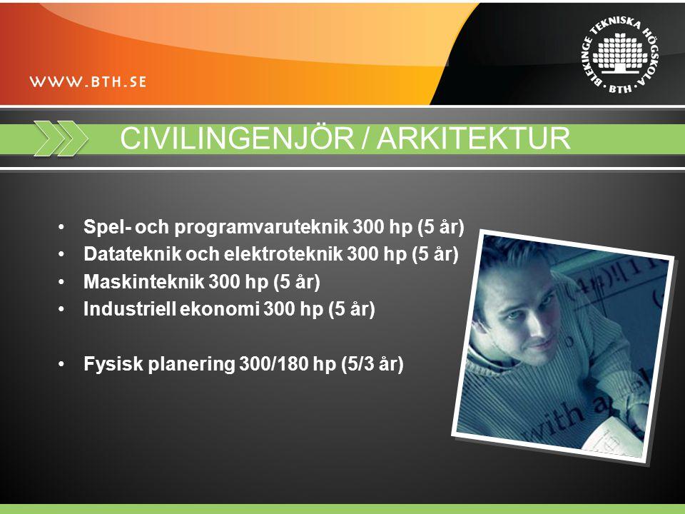 CIVILINGENJÖR / ARKITEKTUR Spel- och programvaruteknik 300 hp (5 år) Datateknik och elektroteknik 300 hp (5 år) Maskinteknik 300 hp (5 år) Industriell ekonomi 300 hp (5 år) Fysisk planering 300/180 hp (5/3 år)