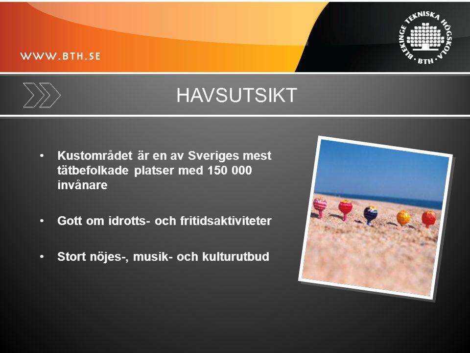 HAVSUTSIKT Kustområdet är en av Sveriges mest tätbefolkade platser med 150 000 invånare Gott om idrotts- och fritidsaktiviteter Stort nöjes-, musik- och kulturutbud