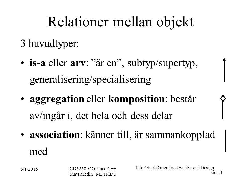 Lite ObjektOrienterad Analys och Design sid.