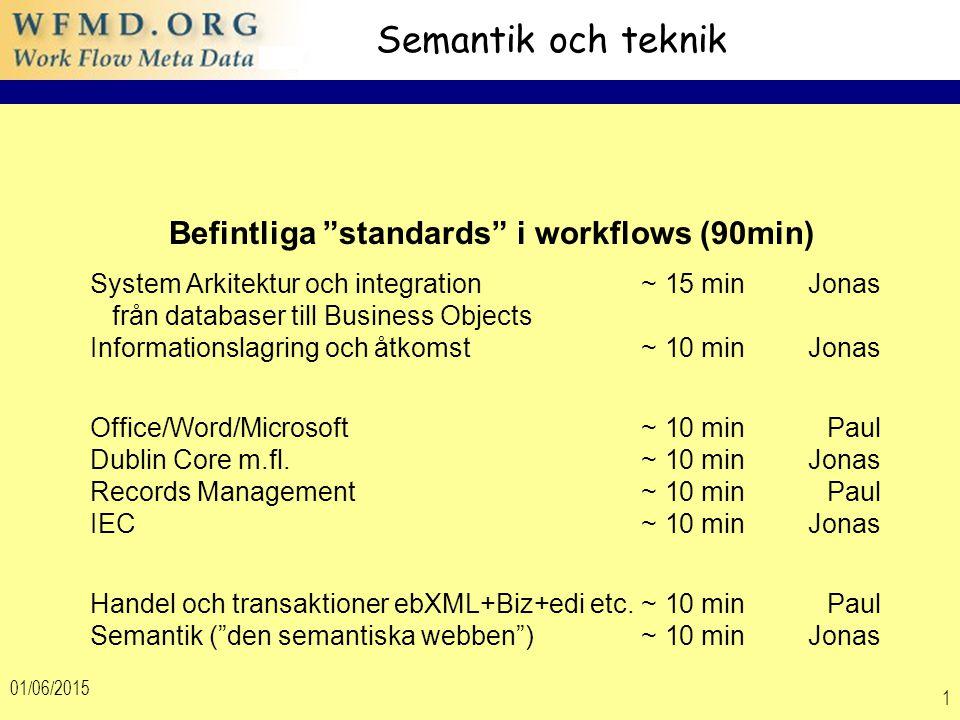 01/06/2015 1 Semantik och teknik Befintliga standards i workflows (90min) System Arkitektur och integration~ 15 min Jonas från databaser till Business Objects Informationslagring och åtkomst~ 10 min Jonas Office/Word/Microsoft ~ 10 minPaul Dublin Core m.fl.~ 10 min Jonas Records Management~ 10 min Paul IEC~ 10 min Jonas Handel och transaktioner ebXML+Biz+edi etc.~ 10 min Paul Semantik ( den semantiska webben ) ~ 10 min Jonas
