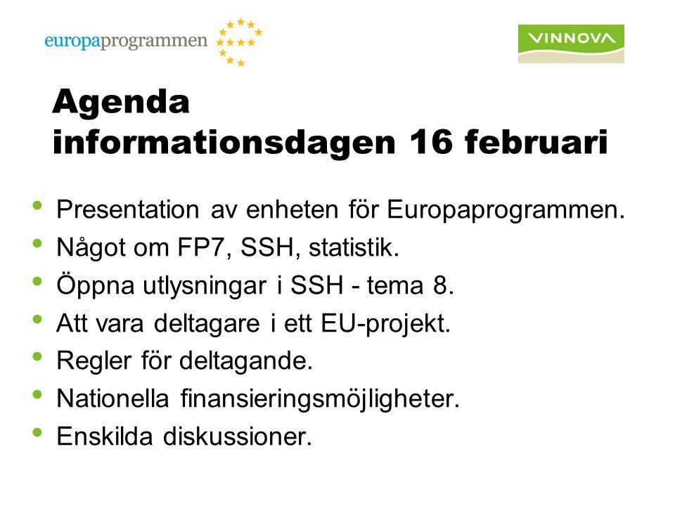 Agenda informationsdagen 16 februari Presentation av enheten för Europaprogrammen. Något om FP7, SSH, statistik. Öppna utlysningar i SSH - tema 8. Att