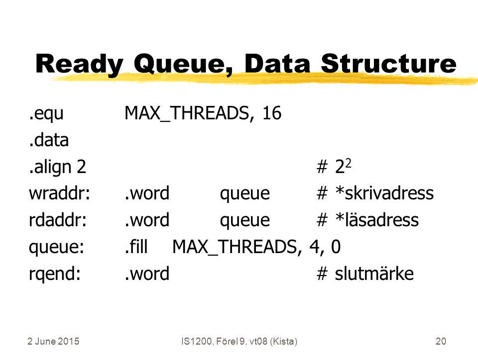 2 June 2015IS1200, Förel 9, vt08 (Kista)20 Ready Queue, Data Structure.equMAX_THREADS, 16.data.align2# 2 2 wraddr:.wordqueue# *skrivadress rdaddr:.wordqueue# *läsadress queue:.fillMAX_THREADS, 4, 0 rqend:.word# slutmärke
