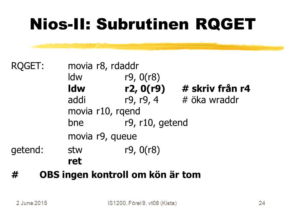 2 June 2015IS1200, Förel 9, vt08 (Kista)24 Nios-II: Subrutinen RQGET RQGET:moviar8, rdaddr ldwr9, 0(r8) ldwr2, 0(r9)# skriv från r4 addir9, r9, 4# öka wraddr moviar10, rqend bner9, r10, getend moviar9, queue getend:stwr9, 0(r8) ret #OBS ingen kontroll om kön är tom