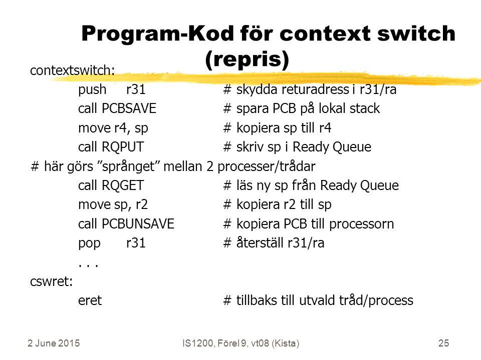 2 June 2015IS1200, Förel 9, vt08 (Kista)25 Program-Kod för context switch (repris) contextswitch: pushr31# skydda returadress i r31/ra call PCBSAVE# spara PCB på lokal stack move r4, sp# kopiera sp till r4 call RQPUT# skriv sp i Ready Queue # här görs språnget mellan 2 processer/trådar call RQGET # läs ny sp från Ready Queue move sp, r2# kopiera r2 till sp call PCBUNSAVE # kopiera PCB till processorn popr31# återställ r31/ra...