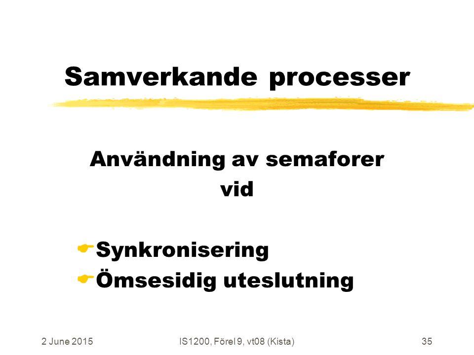 2 June 2015IS1200, Förel 9, vt08 (Kista)35 Samverkande processer Användning av semaforer vid  Synkronisering  Ömsesidig uteslutning