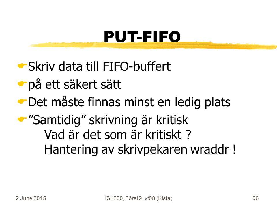 2 June 2015IS1200, Förel 9, vt08 (Kista)66 PUT-FIFO  Skriv data till FIFO-buffert  på ett säkert sätt  Det måste finnas minst en ledig plats  Samtidig skrivning är kritisk Vad är det som är kritiskt .