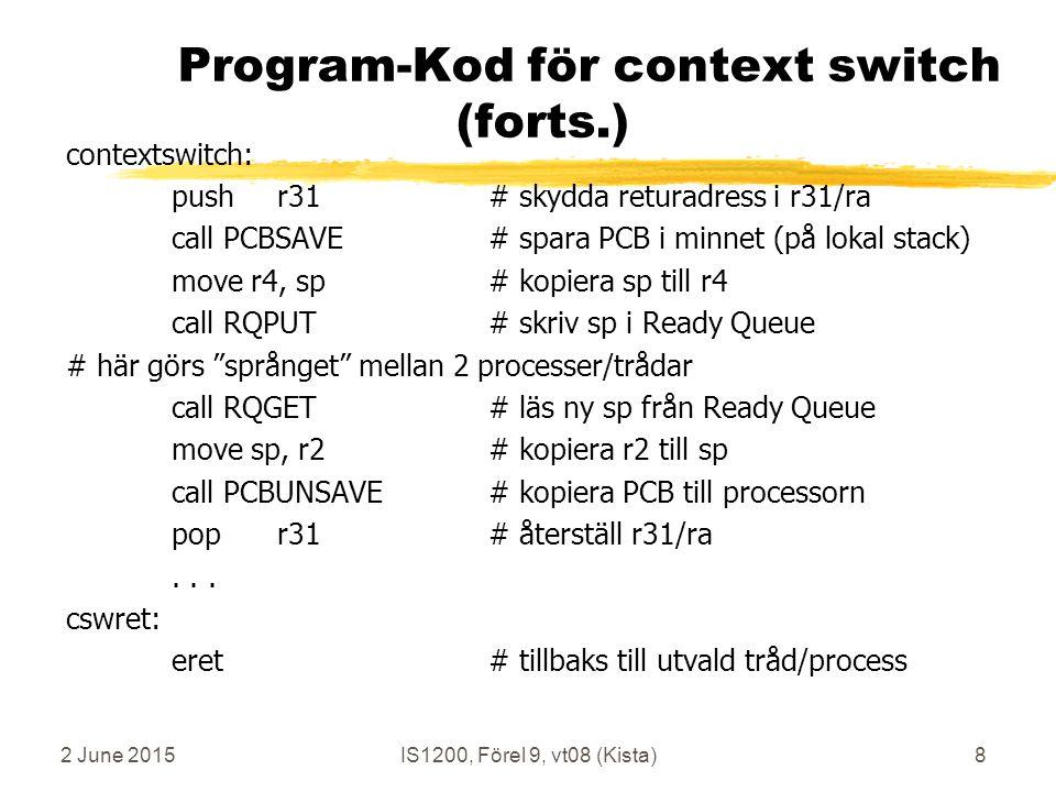 2 June 2015IS1200, Förel 9, vt08 (Kista)8 Program-Kod för context switch (forts.) contextswitch: pushr31# skydda returadress i r31/ra call PCBSAVE# spara PCB i minnet (på lokal stack) move r4, sp# kopiera sp till r4 call RQPUT# skriv sp i Ready Queue # här görs språnget mellan 2 processer/trådar call RQGET # läs ny sp från Ready Queue move sp, r2# kopiera r2 till sp call PCBUNSAVE # kopiera PCB till processorn popr31# återställ r31/ra...