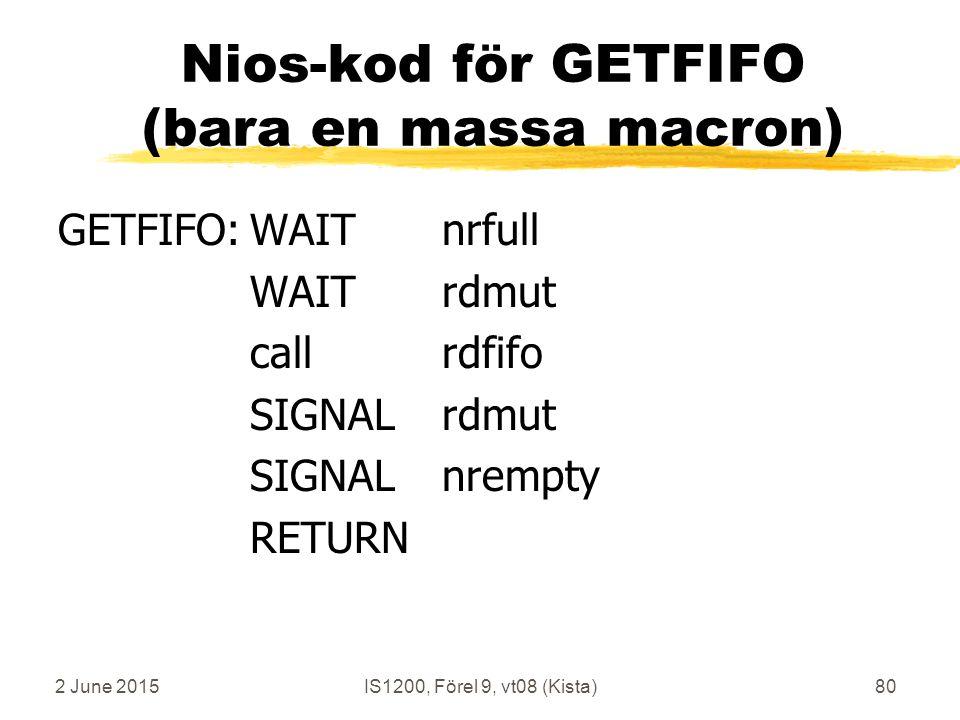 2 June 2015IS1200, Förel 9, vt08 (Kista)80 Nios-kod för GETFIFO (bara en massa macron) GETFIFO:WAITnrfull WAITrdmut callrdfifo SIGNALrdmut SIGNALnrempty RETURN