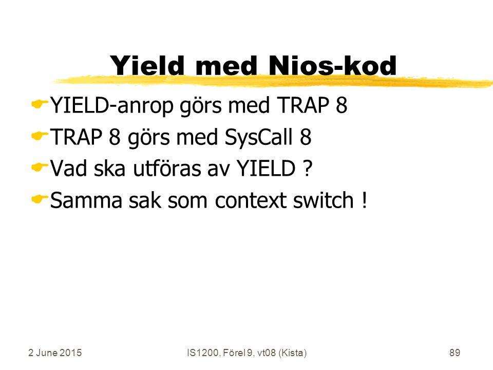 2 June 2015IS1200, Förel 9, vt08 (Kista)89 Yield med Nios-kod  YIELD-anrop görs med TRAP 8  TRAP 8 görs med SysCall 8  Vad ska utföras av YIELD .