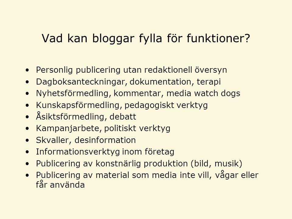 Vad kan bloggar fylla för funktioner.