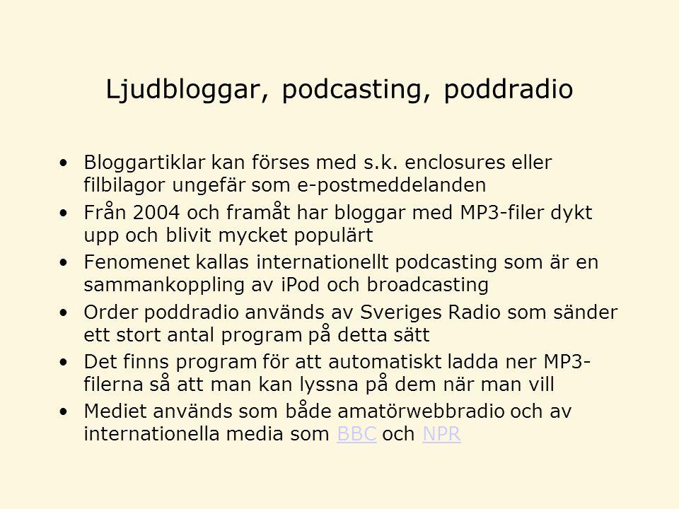 Ljudbloggar, podcasting, poddradio Bloggartiklar kan förses med s.k.