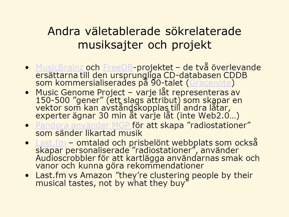 Andra väletablerade sökrelaterade musiksajter och projekt MusicBrainz och FreeDB-projektet – de två överlevande ersättarna till den ursprungliga CD-databasen CDDB som kommersialiserades på 90-talet (Gracenote)MusicBrainzFreeDBGracenote Music Genome Project – varje låt representeras av 150-500 gener (ett slags attribut) som skapar en vektor som kan avståndskopplas till andra låtar, experter ägnar 30 min åt varje låt (inte Web2.0…) Pandora använder MGP för att skapa radiostationer som sänder likartad musikPandora använder MGP Last.fm – omtalad och prisbelönt webbplats som också skapar personaliserade radiostationer , använder Audioscrobbler för att kartlägga användarnas smak och vanor och kunna göra rekommendationerLast.fm Last.fm vs Amazon they're clustering people by their musical tastes, not by what they buy