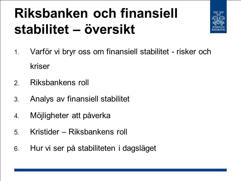 Riksbanken och finansiell stabilitet – översikt  Varför vi bryr oss om finansiell stabilitet - risker och kriser  Riksbankens roll  Analys av fi