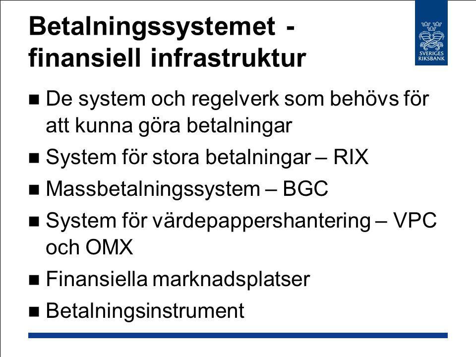 Betalningssystemet - finansiell infrastruktur De system och regelverk som behövs för att kunna göra betalningar System för stora betalningar – RIX Mas