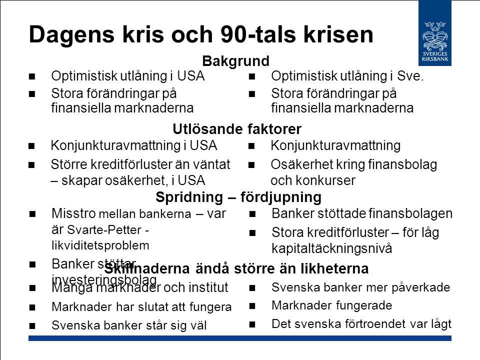Dagens kris och 90-tals krisen Optimistisk utlåning i USA Stora förändringar på finansiella marknaderna Optimistisk utlåning i Sve. Stora förändringar