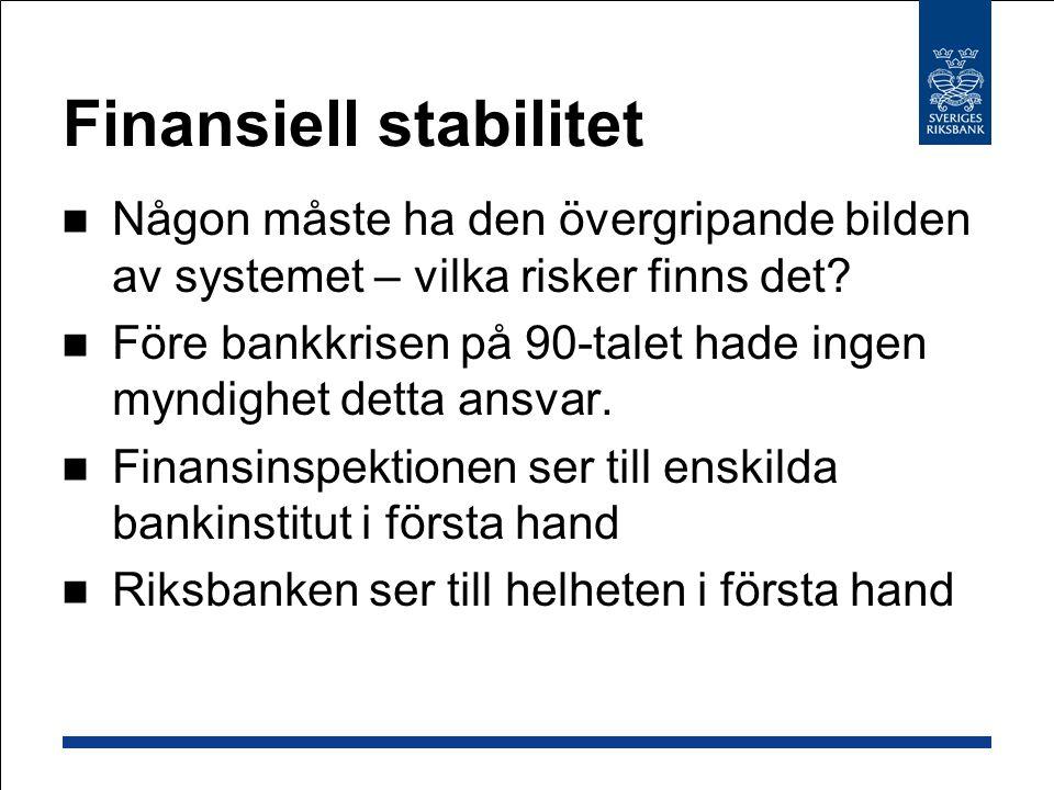 Finansiell stabilitet Någon måste ha den övergripande bilden av systemet – vilka risker finns det? Före bankkrisen på 90-talet hade ingen myndighet de