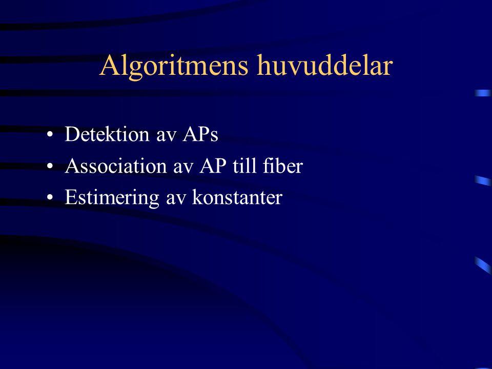 Algoritmens huvuddelar Detektion av APs Association av AP till fiber Estimering av konstanter