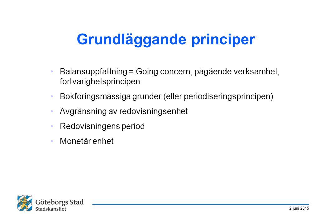 2 juni 2015 Grundläggande principer Balansuppfattning = Going concern, pågående verksamhet, fortvarighetsprincipen Bokföringsmässiga grunder (eller pe