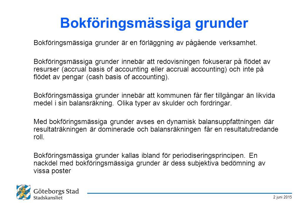 2 juni 2015 Bokföringsmässiga grunder Bokföringsmässiga grunder är en förläggning av pågående verksamhet. Bokföringsmässiga grunder innebär att redovi