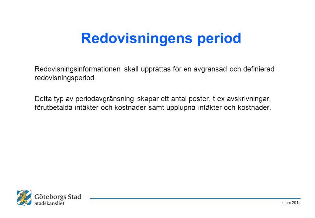 2 juni 2015 Redovisningens period Redovisningsinformationen skall upprättas för en avgränsad och definierad redovisningsperiod. Detta typ av periodavg