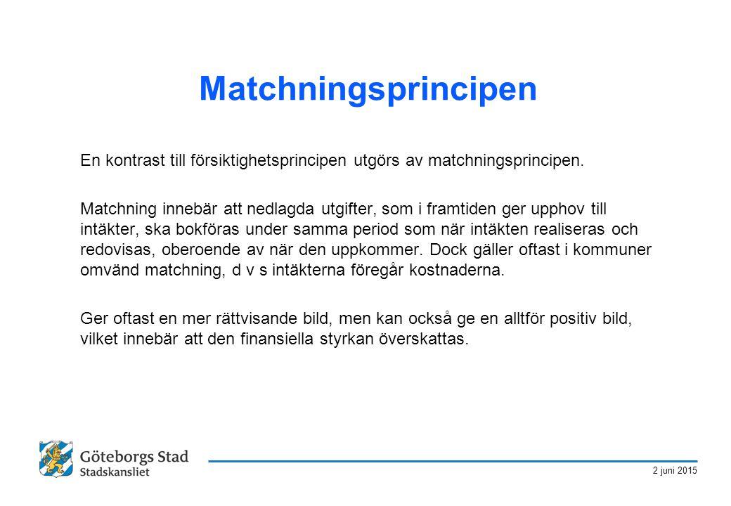 2 juni 2015 Matchningsprincipen En kontrast till försiktighetsprincipen utgörs av matchningsprincipen. Matchning innebär att nedlagda utgifter, som i