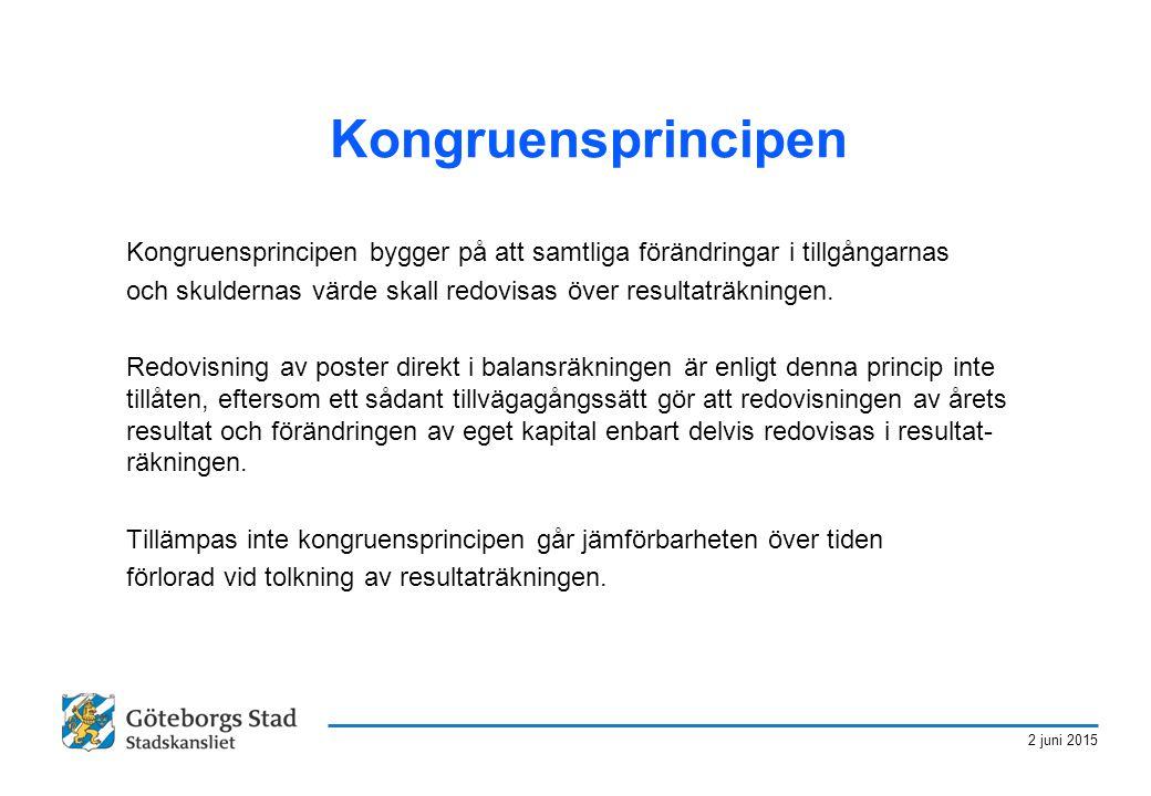 2 juni 2015 Kongruensprincipen Kongruensprincipen bygger på att samtliga förändringar i tillgångarnas och skuldernas värde skall redovisas över result