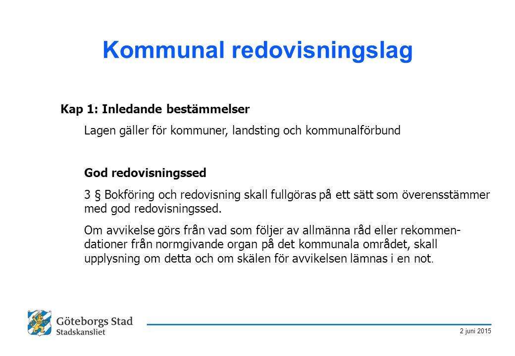 2 juni 2015 Kommunal redovisningslag Kap 1: Inledande bestämmelser Lagen gäller för kommuner, landsting och kommunalförbund God redovisningssed 3 § Bo