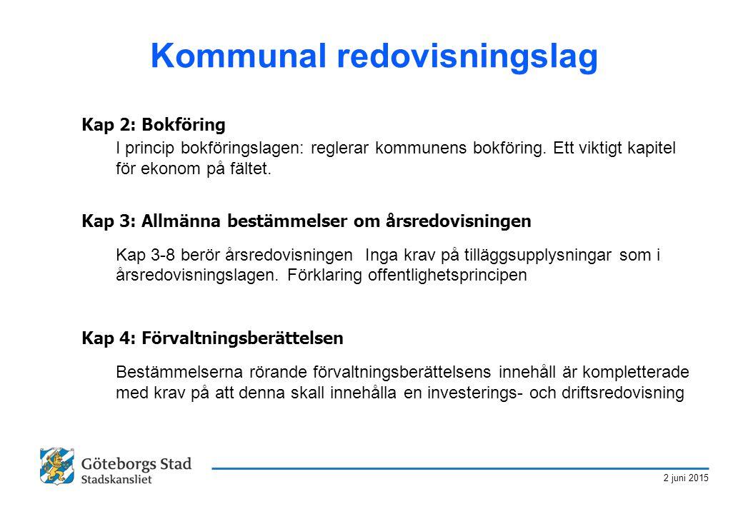 2 juni 2015 Kommunal redovisningslag Kap 2: Bokföring I princip bokföringslagen: reglerar kommunens bokföring. Ett viktigt kapitel för ekonom på fälte
