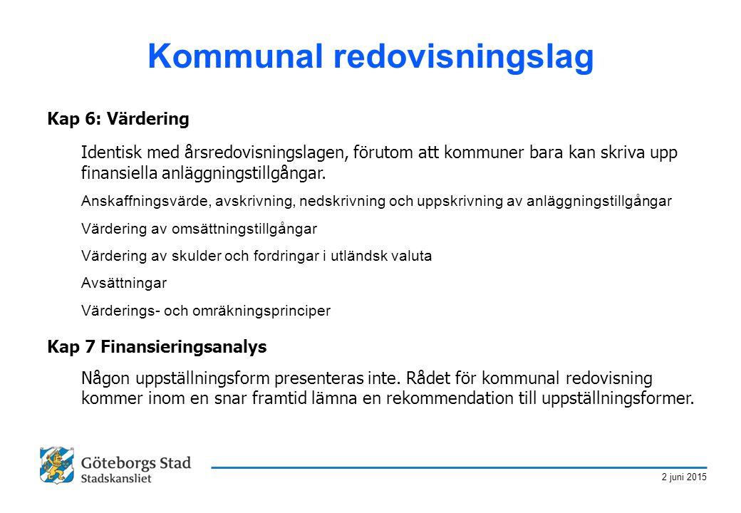 2 juni 2015 Kommunal redovisningslag Kap 6: Värdering Identisk med årsredovisningslagen, förutom att kommuner bara kan skriva upp finansiella anläggni