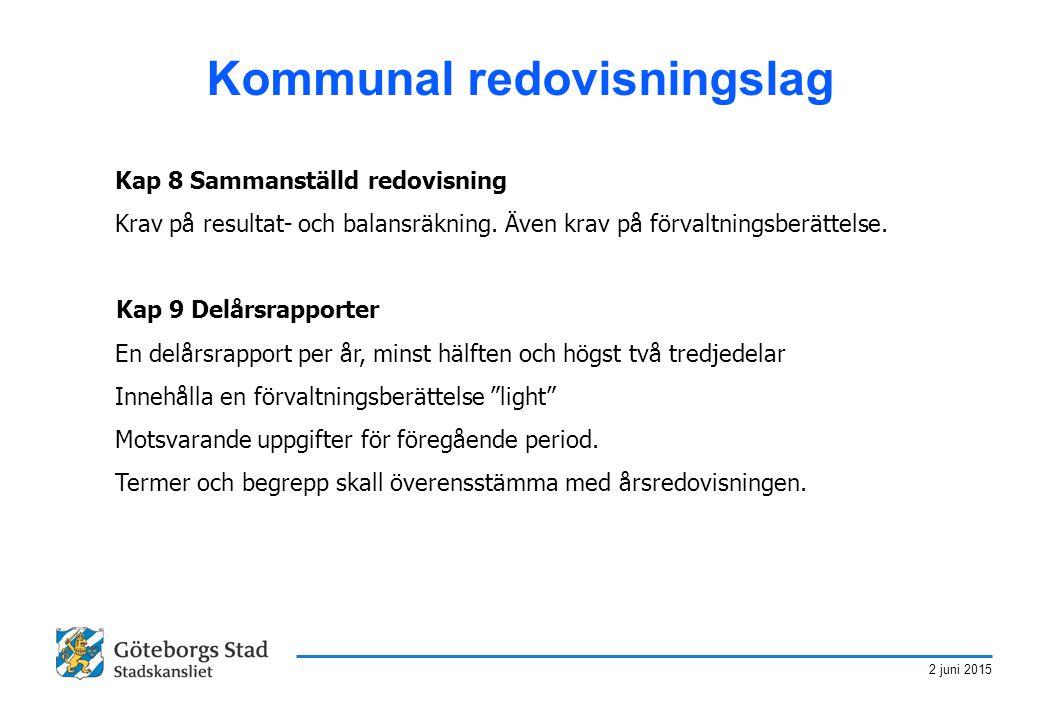 2 juni 2015 Kommunal redovisningslag Kap 8 Sammanställd redovisning Krav på resultat- och balansräkning. Även krav på förvaltningsberättelse. Kap 9 De