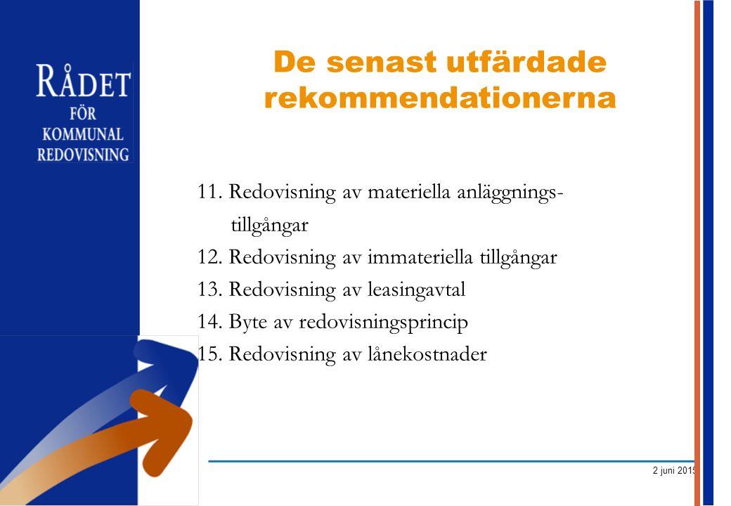 2 juni 2015 11. Redovisning av materiella anläggnings- tillgångar 12. Redovisning av immateriella tillgångar 13. Redovisning av leasingavtal 14. Byte