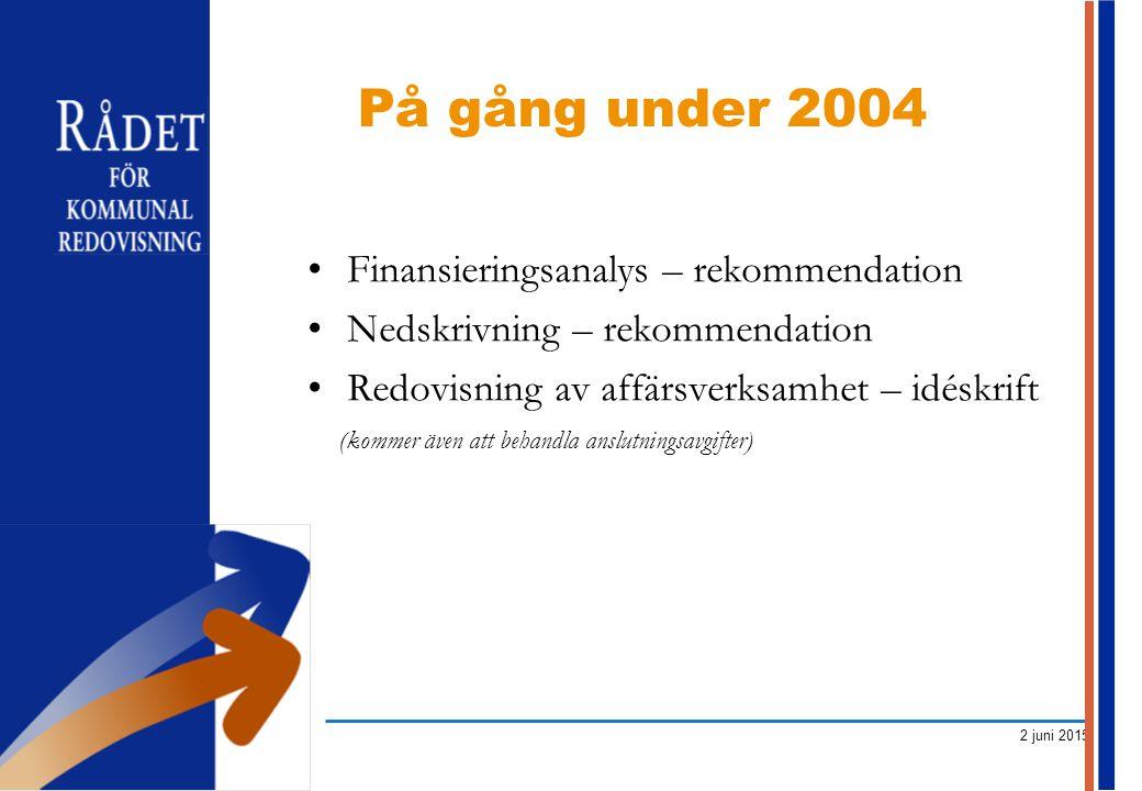 2 juni 2015 Finansieringsanalys – rekommendation Nedskrivning – rekommendation Redovisning av affärsverksamhet – idéskrift (kommer även att behandla a