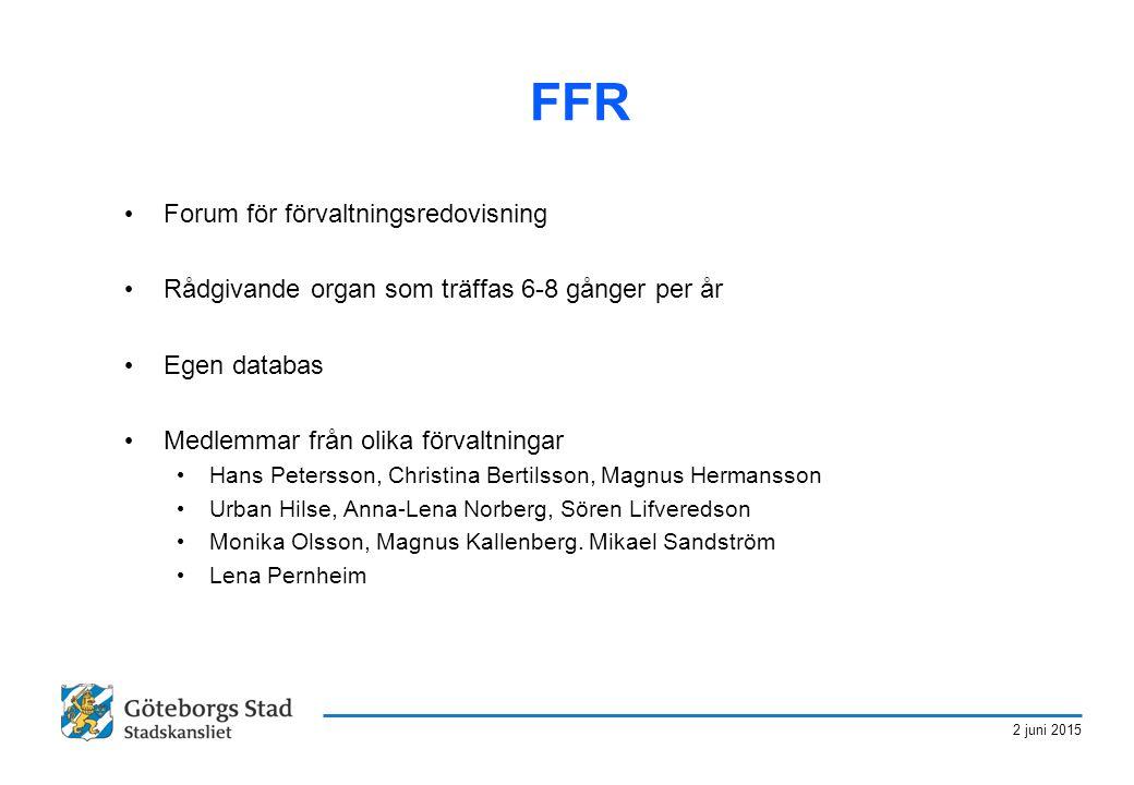 2 juni 2015 FFR Forum för förvaltningsredovisning Rådgivande organ som träffas 6-8 gånger per år Egen databas Medlemmar från olika förvaltningar Hans