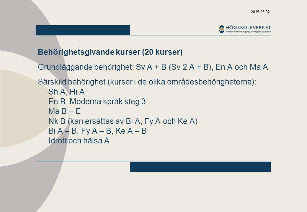 2015-06-02 Behörighetsgivande kurser (20 kurser) Grundläggande behörighet: Sv A + B (Sv 2 A + B), En A och Ma A Särskild behörighet (kurser i de olika områdesbehörigheterna): Sh A, Hi A En B, Moderna språk steg 3 Ma B – E Nk B (kan ersättas av Bi A, Fy A och Ke A) Bi A – B, Fy A – B, Ke A – B Idrott och hälsa A
