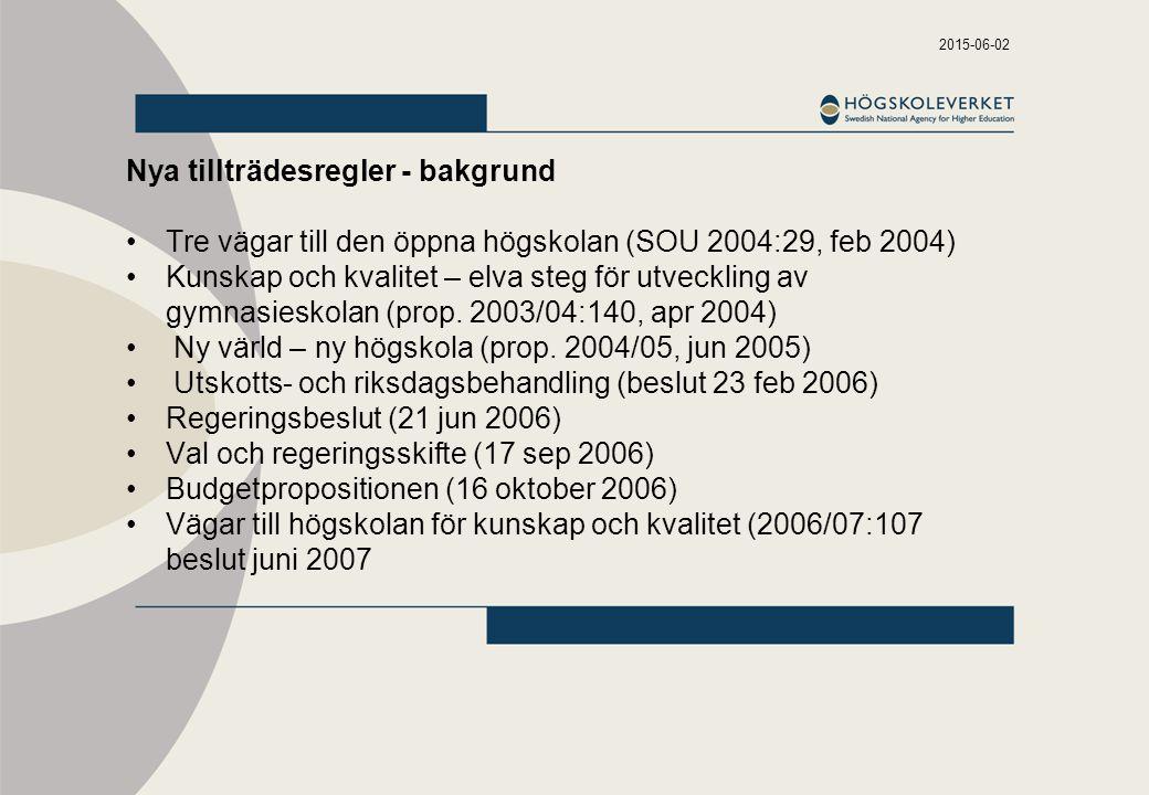 2015-06-02 Nya tillträdesregler - bakgrund Tre vägar till den öppna högskolan (SOU 2004:29, feb 2004) Kunskap och kvalitet – elva steg för utveckling av gymnasieskolan (prop.