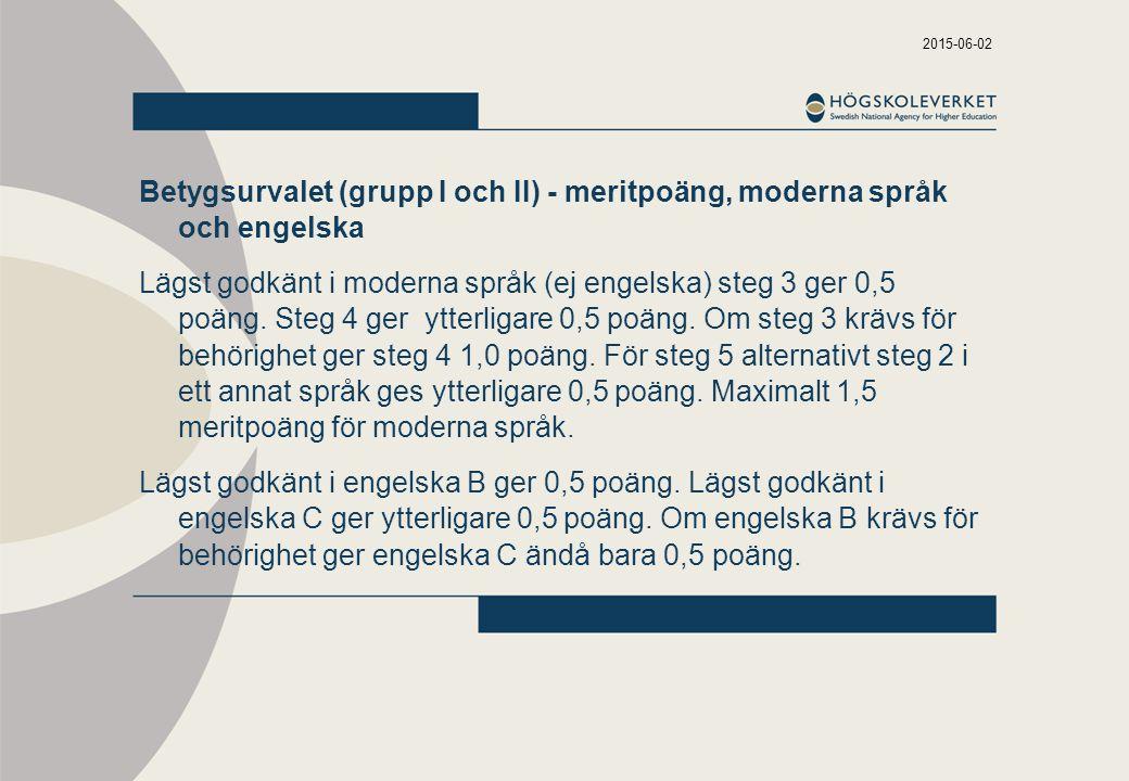 2015-06-02 Betygsurvalet (grupp I och II) - meritpoäng, moderna språk och engelska Lägst godkänt i moderna språk (ej engelska) steg 3 ger 0,5 poäng.