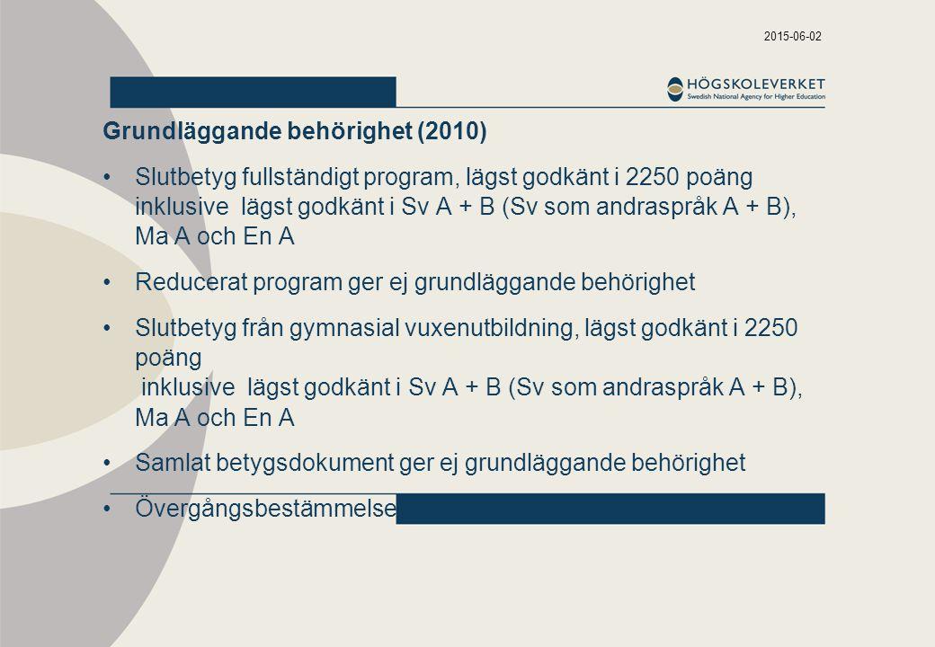 2015-06-02 Grundläggande behörighet (2010) Slutbetyg fullständigt program, lägst godkänt i 2250 poäng inklusive lägst godkänt i Sv A + B (Sv som andraspråk A + B), Ma A och En A Reducerat program ger ej grundläggande behörighet Slutbetyg från gymnasial vuxenutbildning, lägst godkänt i 2250 poäng inklusive lägst godkänt i Sv A + B (Sv som andraspråk A + B), Ma A och En A Samlat betygsdokument ger ej grundläggande behörighet Övergångsbestämmelser