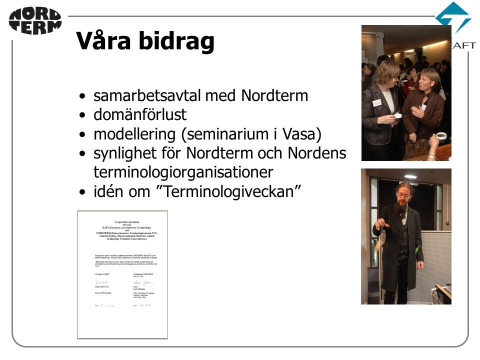 samarbetsavtal med Nordterm domänförlust modellering (seminarium i Vasa) synlighet för Nordterm och Nordens terminologiorganisationer idén om Terminologiveckan Våra bidrag