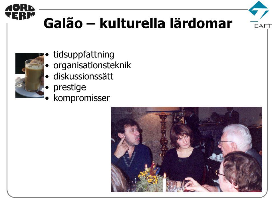 tidsuppfattning organisationsteknik diskussionssätt prestige kompromisser Galão – kulturella lärdomar